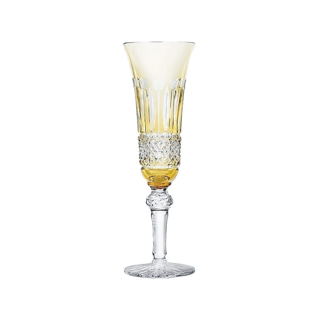 Crystal Champagne flute Tomy amber