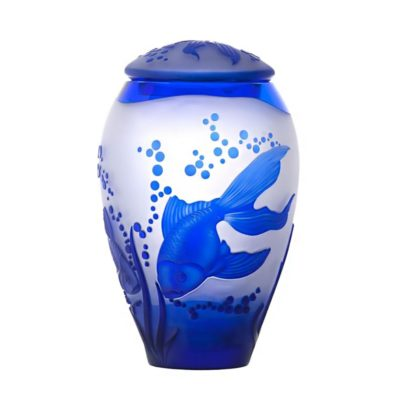 Crystal cremation urn Fishes